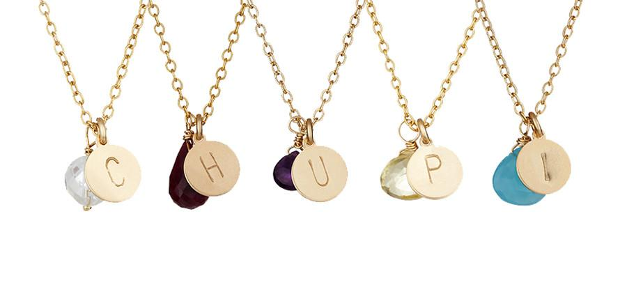 New birthstone initial necklaces chupis blog unique jewellery our say my name initial disc necklaces have long been one of our most loved pieces having proved extremely popular as a special gift for loved ones aloadofball Image collections