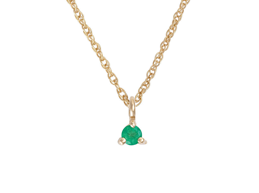 Solid Gold Lucky Star Birthstone Necklace Emerald