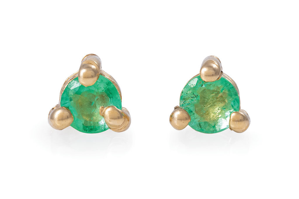 Solid Gold Lucky Star Birthstone Stud Earrings Emerald