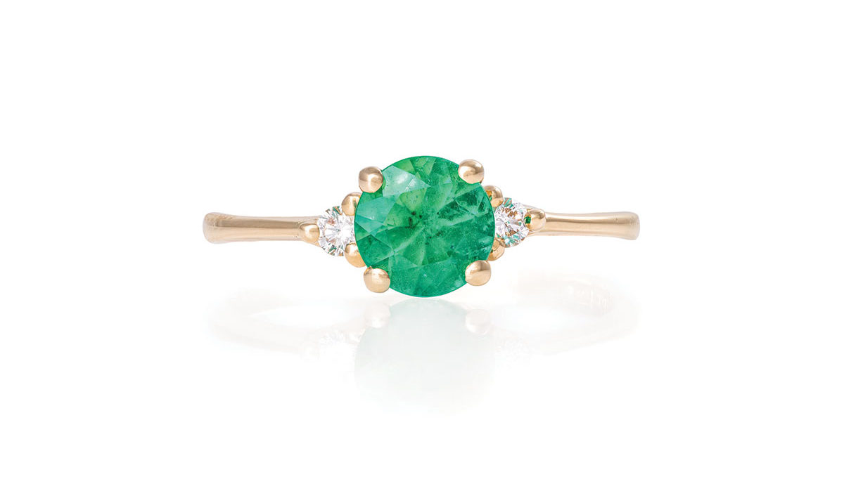 Chupi-Solid-Gold-Polished-Band-Ring-Love-is-All-Emerald-and-Classic-Diamond-1