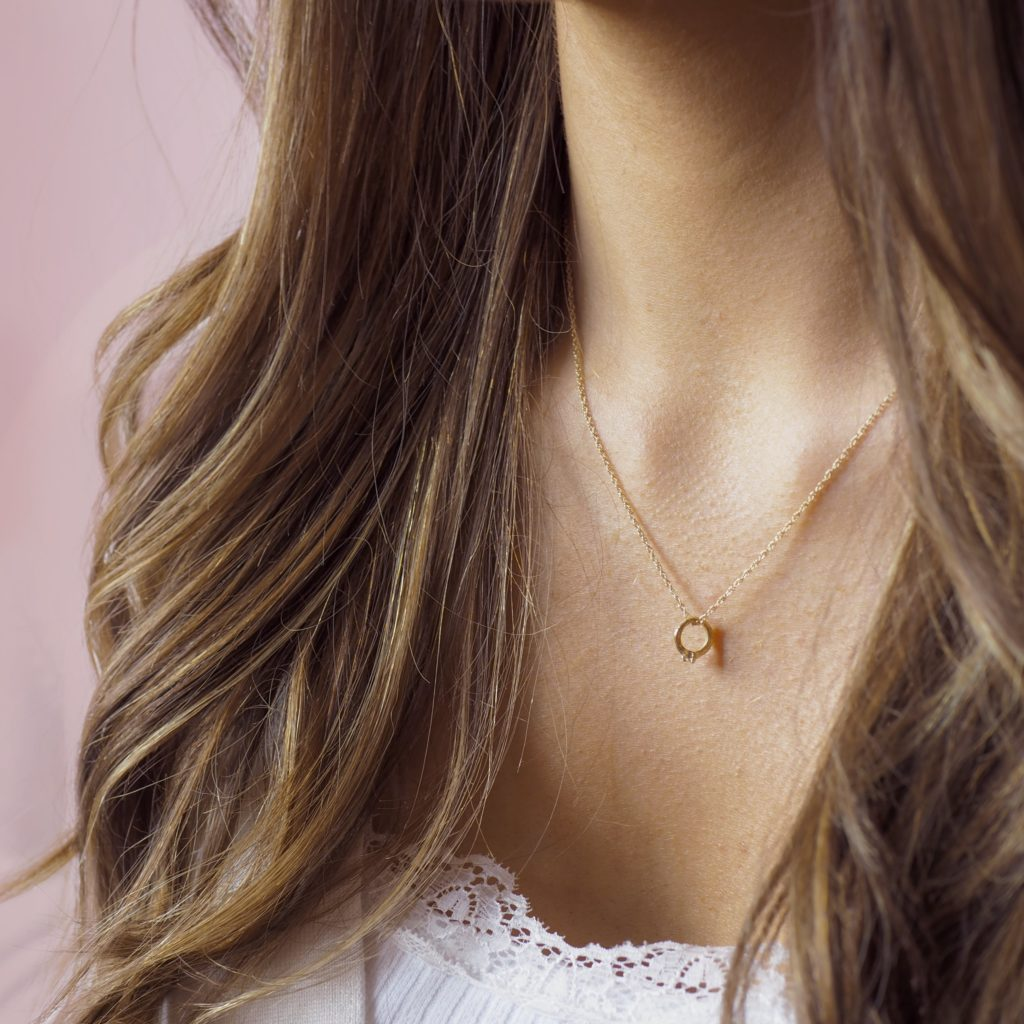 Solid Gold Chupi Promise Ring Necklace
